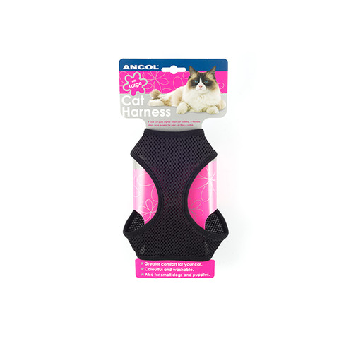 Ancol Black Soft Cat Harness And Lead Set Large