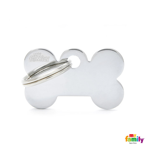 My Family Chrome Bone Pet Name Id Tag With Free Engraving Small