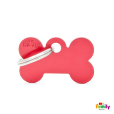 My Family Red Bone Pet Name Id Tag With Free Engraving Small