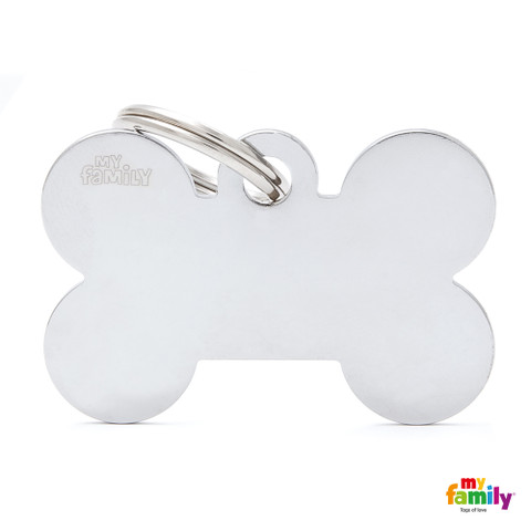 My Family Chrome Bone Pet Name Id Tag With Free Engraving Large
