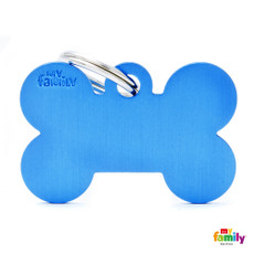 My Family Blue Bone Pet Name Id Tag With Free Engraving Large