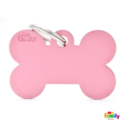 My Family Pink Bone Pet Name Id Tag With Free Engraving Large