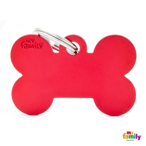 My Family Red Bone Pet Name Id Tag With Free Engraving Large
