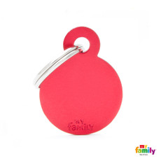 My Family Red Circle Pet Name Id Tag With Free Engraving Small