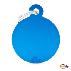 My Family Blue Circle Pet Name Id Tag With Free Engraving Large