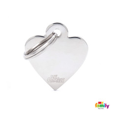 My Family Chrome Heart Pet Name Id Tag With Free Engraving Small