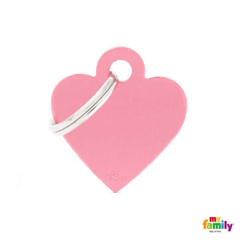My Family Pink Heart Pet Name Id Tag With Free Engraving Small