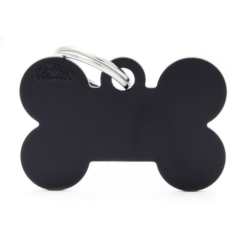 My Family Black Bone Pet Name Id Tag With Free Engraving Large