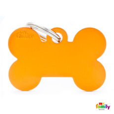 My Family Orange Bone Pet Name Id Tag With Free Engraving Large