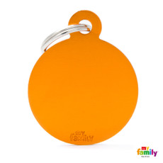My Family Orange Circle Pet Name Id Tag With Free Engraving Large