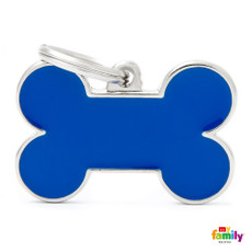 My Family Handmade Blue Bone Pet Name Id Tag With Free Engraving Large