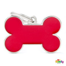 My Family Handmade Red Bone Pet Name Id Tag With Free Engraving Large