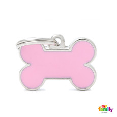 My Family Handmade Pink Bone Pet Name Id Tag With Free Engraving Small
