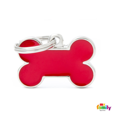 My Family Handmade Red Bone Pet Name Id Tag With Free Engraving Small