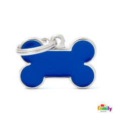 My Family Handmade Blue Bone Pet Name Id Tag With Free Engraving Small