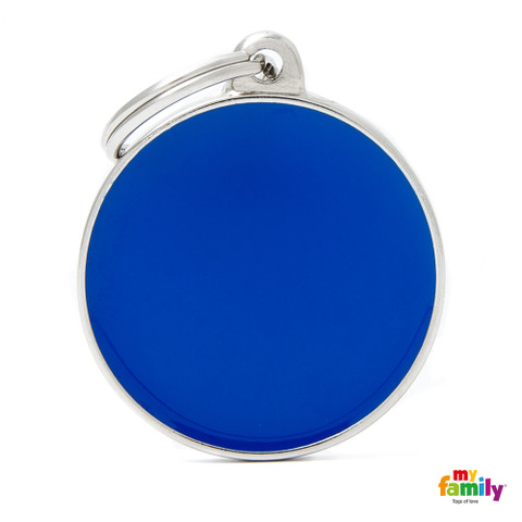 My Family Handmade Blue Circle Pet Name Id Tag With Free Engraving Large