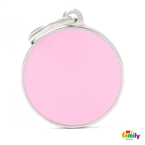 My Family Handmade Pink Circle Pet Name Id Tag With Free Engraving Large