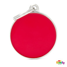 My Family Handmade Red Circle Pet Name Id Tag With Free Engraving Large