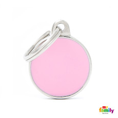 My Family Handmade Pink Circle Pet Name Id Tag With Free Engraving Small
