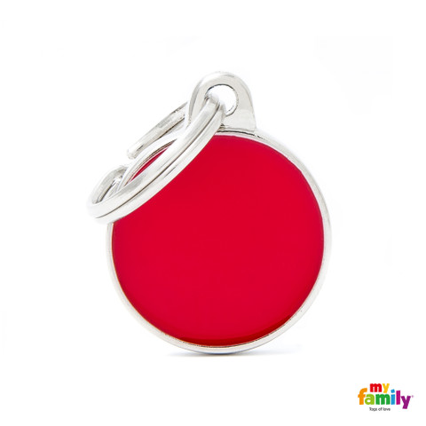 My Family Handmade Red Circle Pet Name Id Tag With Free Engraving Small