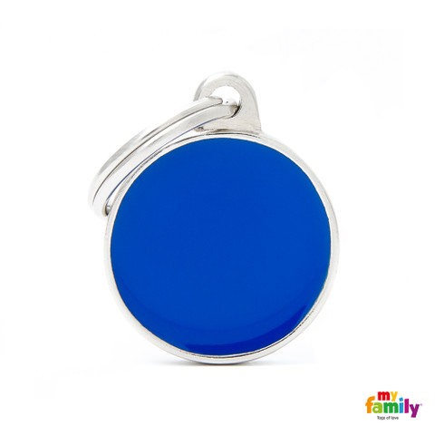 My Family Handmade Blue Circle Pet Name Id Tag With Free Engraving Small