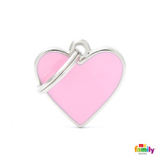 My Family Handmade Pink Heart Pet Name Id Tag With Free Engraving Small