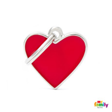 My Family Handmade Red Heart Pet Name Id Tag With Free Engraving Small
