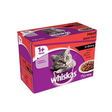 Whiskas Adult 1+ Cat Pouches Meat Selection In Gravy 12x100g