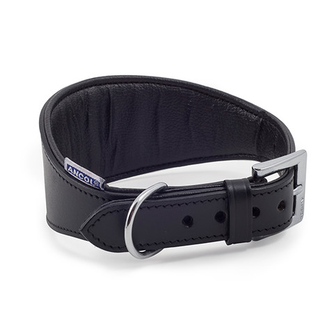 Ancol Heritage Leather Padded Black Whippet And Greyhound Buckle Dog Collar 35cm