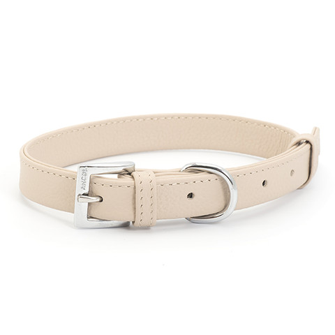 Ancol Indulgence Folded Leather Soft Truffle Buckle Dog Collar Meduim