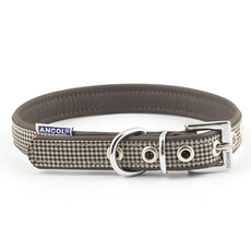 Ancol Indulgence Leather Country Check Buckle Dog Collar Medium