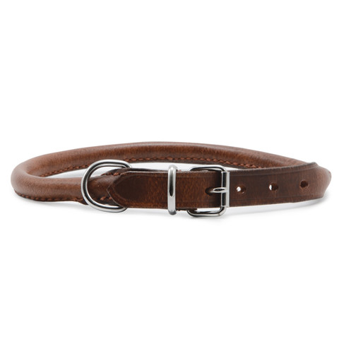 Ancol Heritage Round Sewn Leather Buckle Dog Collar 35cm