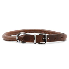 Ancol Heritage Round Sewn Leather Buckle Dog Collar 40cm