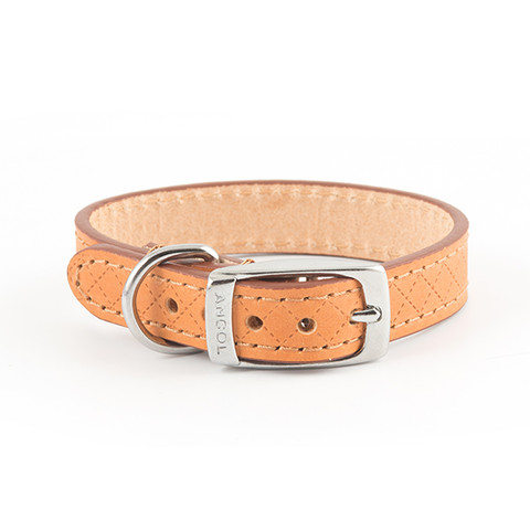 Ancol Heritage Diamond Leather Tan Buckle Dog Collar X Small