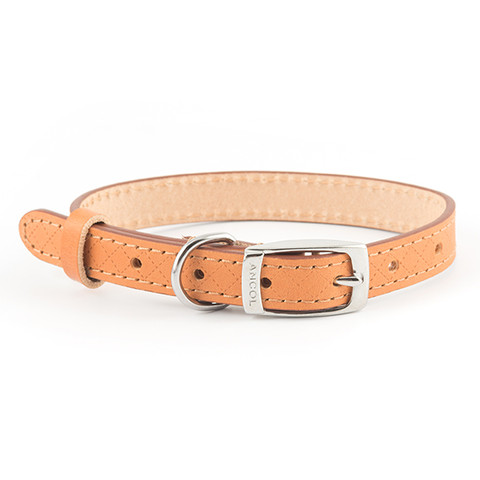 Ancol Heritage Diamond Leather Tan Buckle Dog Collar Small