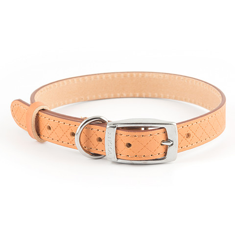 Ancol Heritage Diamond Leather Tan Buckle Dog Collar Medium