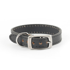 Ancol Heritage Diamond Leather Black Buckle Dog Collar X Small