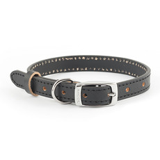 Ancol Heritage Diamond Leather Black Buckle Dog Collar Small