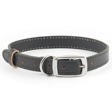 Ancol Heritage Diamond Leather Black Buckle Dog Collar Medium