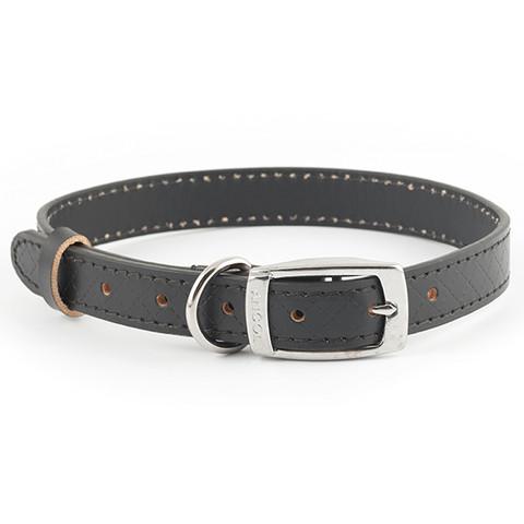Ancol Heritage Diamond Leather Black Buckle Dog Collar Medium