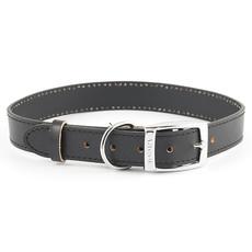 Ancol Heritage Diamond Leather Black Buckle Dog Collar Large