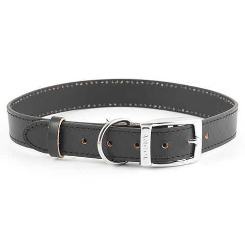 Ancol Heritage Diamond Leather Black Buckle Dog Collar Large