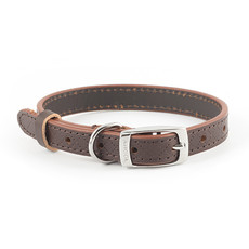 Ancol Heritage Diamond Leather Brown Buckle Dog Collar Small
