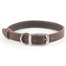 Ancol Heritage Diamond Leather Brown Buckle Dog Collar Medium