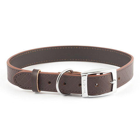 Ancol Heritage Diamond Leather Brown Buckle Dog Collar Large