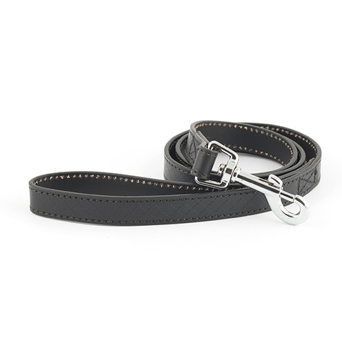 Ancol Heritage Diamond Leather Black Dog Lead 19mm X 1m