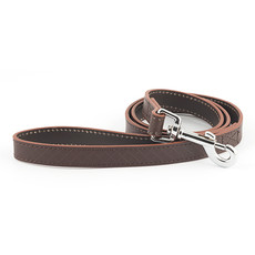 Ancol Heritage Diamond Leather Brown Dog Lead 19mm X 1m