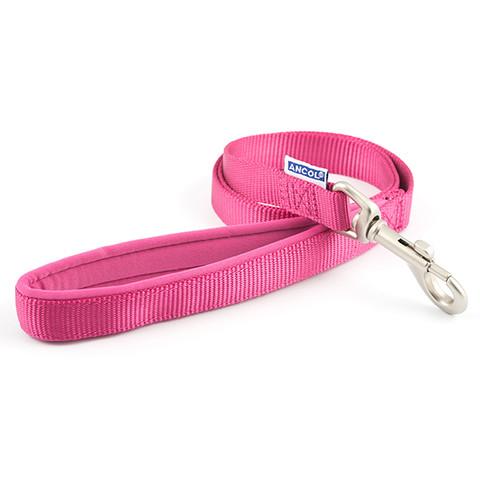 Ancol Heritage Padded Nylon Cushion Raspberry Pink Dog Lead 1m X 12mm