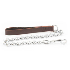 Ancol Heritage Diamond Leather Brown And Extra Heavy Chain Dog Lead 80cm