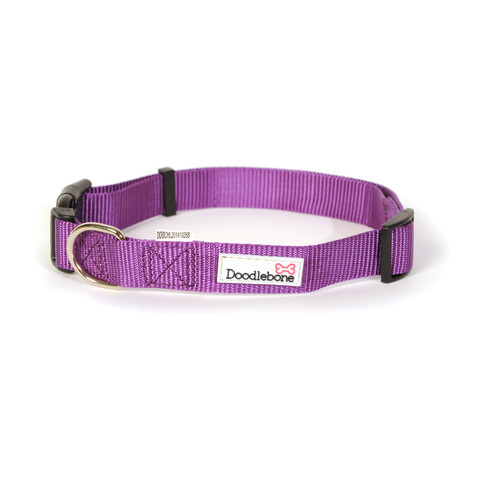 Doodlebone Purple Adjustable Dog Collar Large